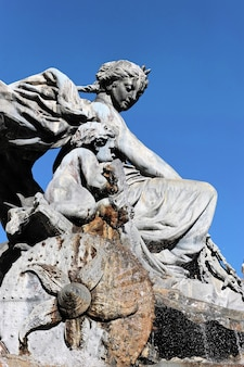 Famous statue in lyon city with blue sky