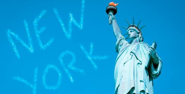 Знаменитая статуя свободы, нью-йорк, специальная фотообработка.