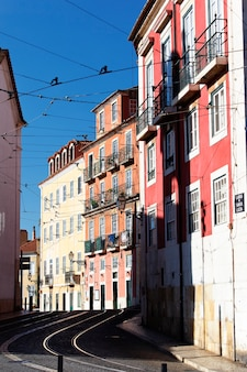 Famous street in lisbon in summer, portugal