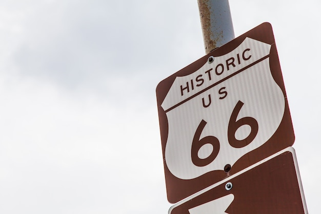 Famous streetsight of route 66 with copyspace