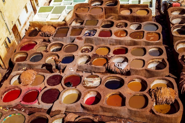 Famous tannerie chouara. manual tanning leather.