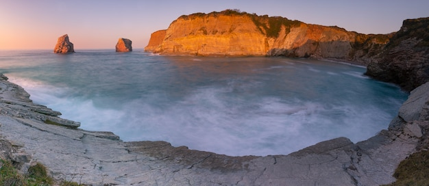 The famous twin rocks at hendaia's coast at the basque country.