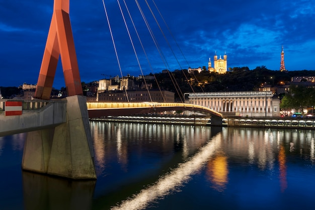 Famous view of lyon by night, france.