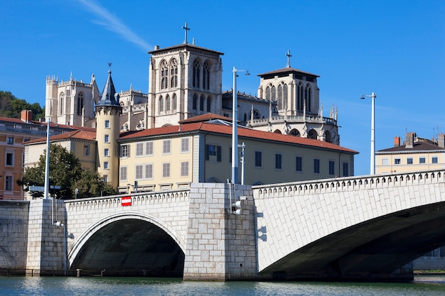 Famous view of lyon with saone river, cathedral and bridge