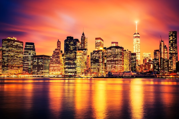 Famous view of new york city manhattan midtown at sunset