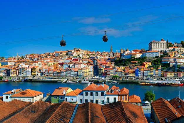 Famous view of porto and douro river, portugal, europe