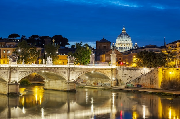 Famous view of rome by night, italy