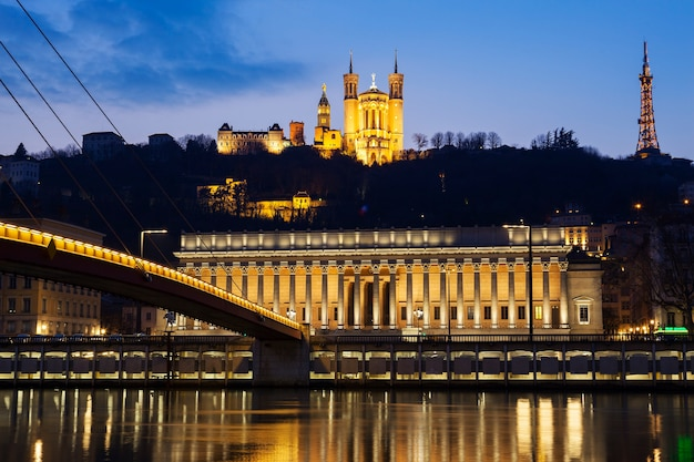 Famous view of saone river at lyon by night, france
