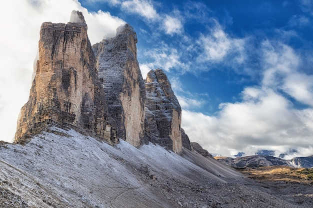Famous view of tre cime di lavaredo rocky mountains from the hiking trail, dolomites, italy