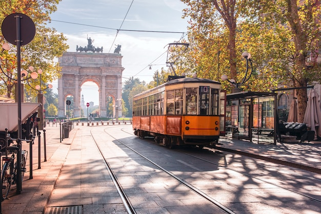 Famous vintage tram in old town of milan in italy