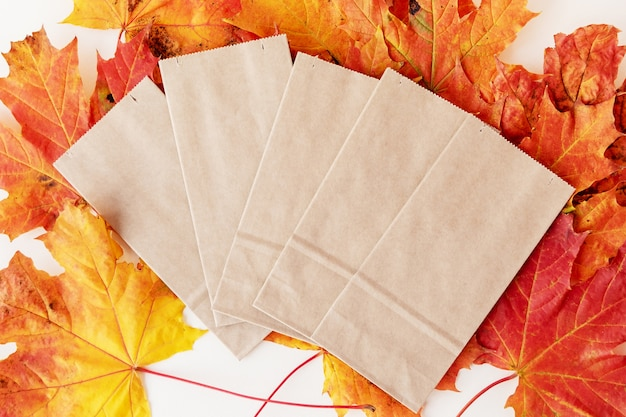 Fan of beige empty paper bags lying on large pile of red and yellow dry autumn leaves
