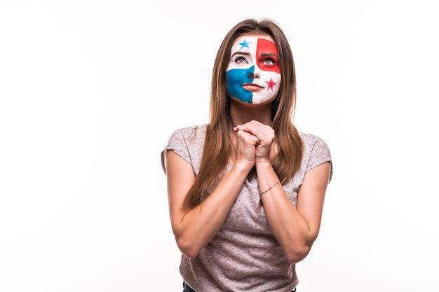 パナマ代表チームのファンのサポートは、白い背景で隔離の塗られた顔で祈る