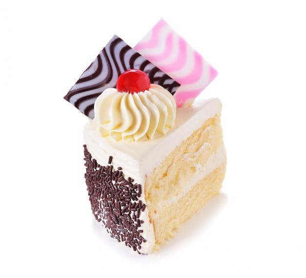 멋진 흰색 배경에 케이크 한 조각
