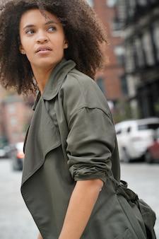 Fancy city girl crossing the street, new york city