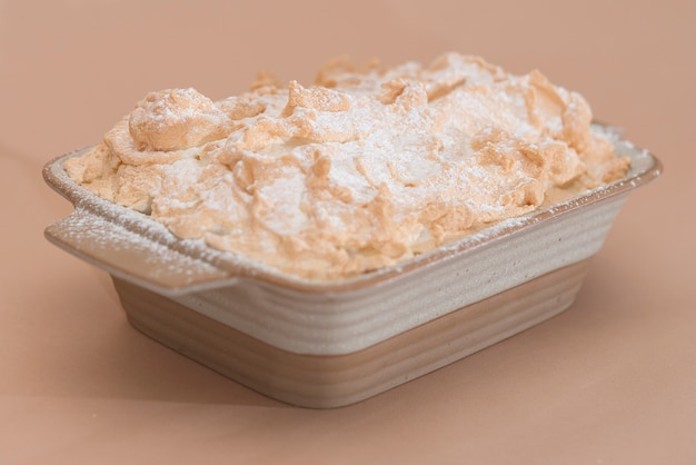 Fancy dessert with pancakes and marshmallow,  place in a bowl,  light background