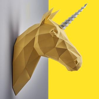 Необычная голова насыщенного желтого единорога из бумаги.
