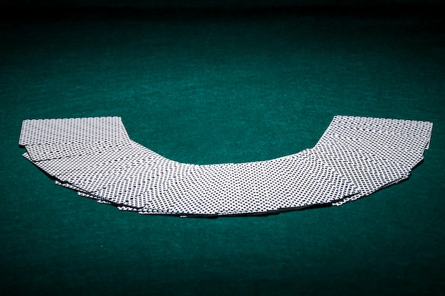 Fanned deck of playing cards in casino