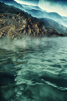 Fantastic 3d image of the surface of another planet, on the seashore ocean, with fog, clouds, reflections and a planet