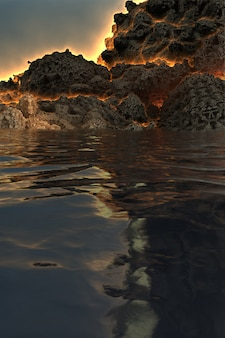 Fantastic 3d image of a volcano before the eruption, on the lake, with fire exiting through the faults of the mountain and reflection in the water