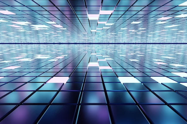 Fantastic abstract background of cubes and light panels d illustration