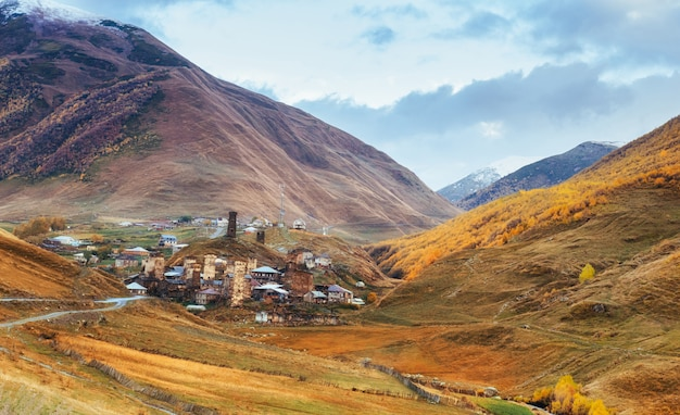 Fantastic beauty of the town between the mountains in georgia europe