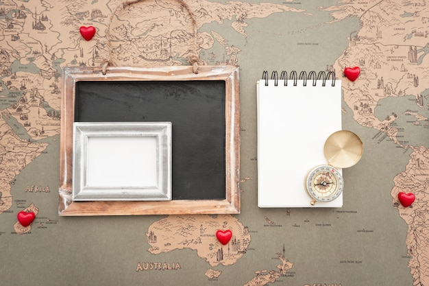 Fantastic composition with variety of travel objects