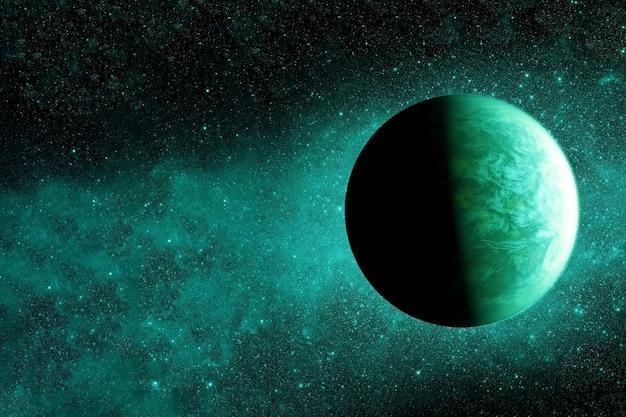 Фантастическая экзопланета зеленого цвета. элементы этого изображения были предоставлены наса. для любых целей.