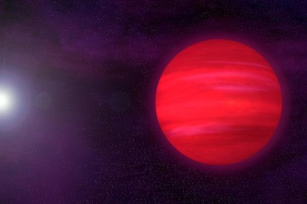 Фантастическая экзопланета красного цвета. элементы этого изображения были предоставлены наса. для любых целей.