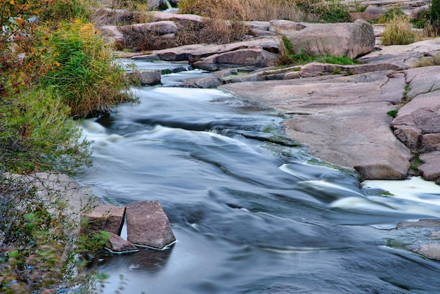 A fantastic fast stream runs among white wet stones covered with yellowed golden grass in a cool autumn on the picturesque nature of ukraine