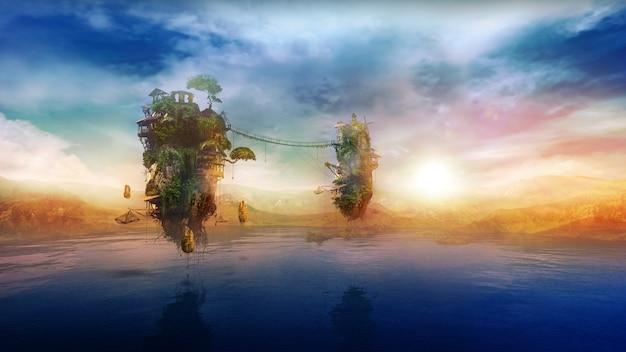 日の出dレンダリングで湖の上の素晴らしい空飛ぶ島