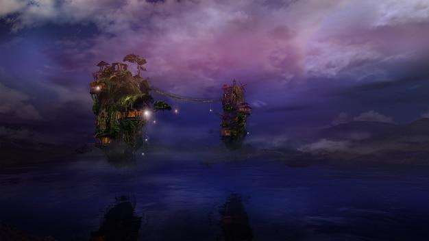 Фантастические летающие острова над ночным озером d render