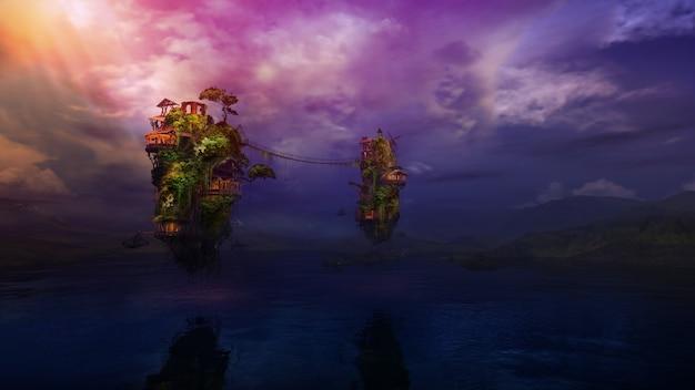 Фантастические летающие острова с деревянными зданиями над горным озером d render