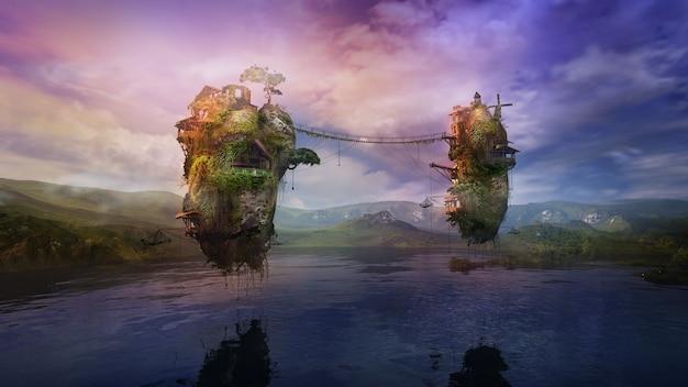 Фантастический озерный пейзаж с обитаемыми летающими островами d render