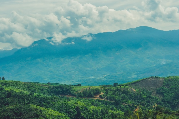 Фантастический пейзаж гор далат, вьетнам, свежая атмосфера, вилла среди леса, впечатляющая форма холма и горы с высоты, прекрасный отдых для экотуризма весной