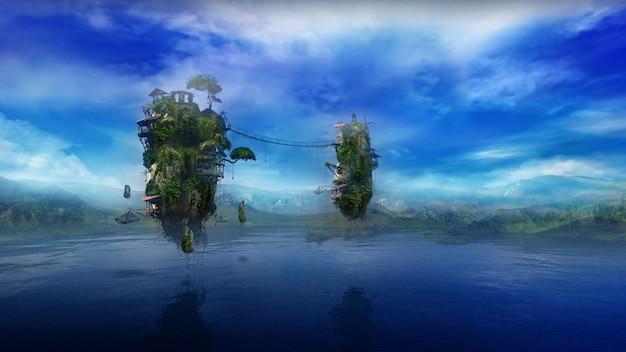 Фантастический пейзаж с озером и летающими островами d рендер