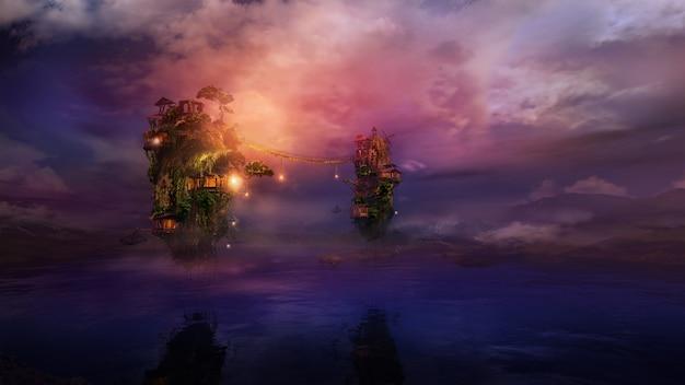 Фантастический ночной пейзаж с летающими островами над озером d render