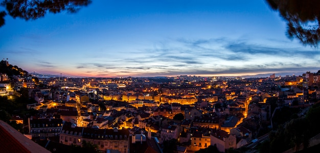 Fantastic night view of the graca viewpoint, located in lisbon, portugal.
