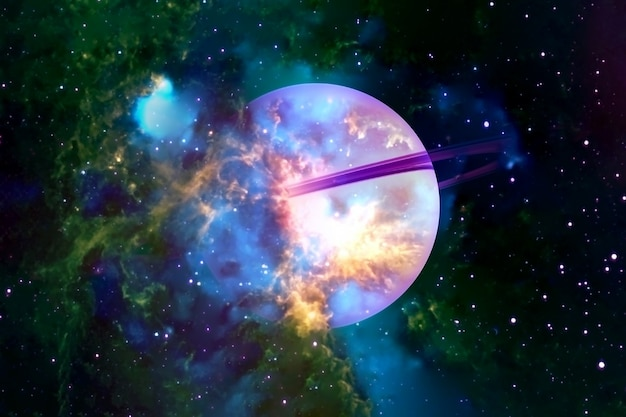 Fantastic saturn collapsing. elements of this image were furnished by nasa. for any purpose.