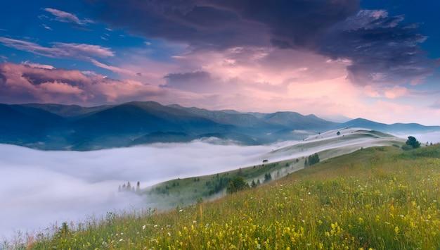 Fantastic sunrise in carpathian mountains, ukraine