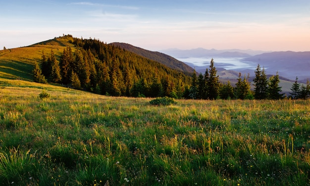 Fantastic sunset in the mountains of ukraine