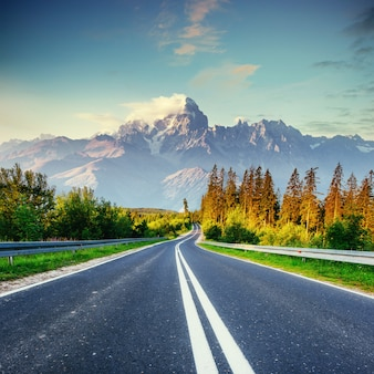 Fantastic views of the asphalt road in the mountains.
