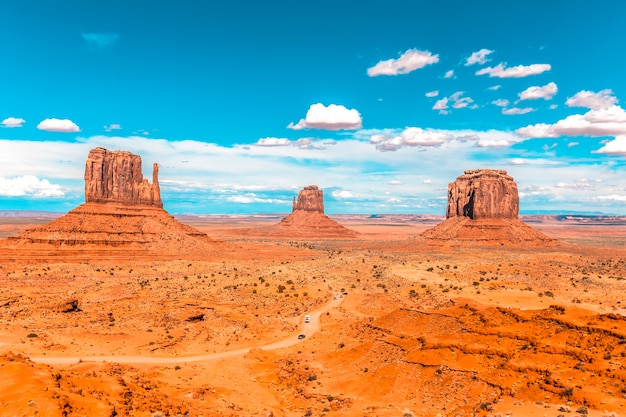 The fantastic views from the visitor center in the parking lot of the iconic monument valley national park.