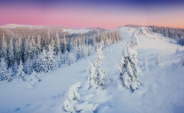 山の幻想的な冬の風景。魔法の夕日、