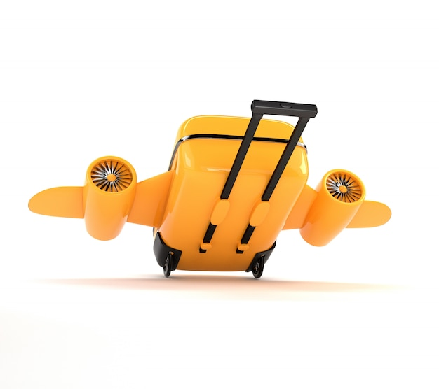 Fantastic yellow suitcase with wheels, wings and engines.