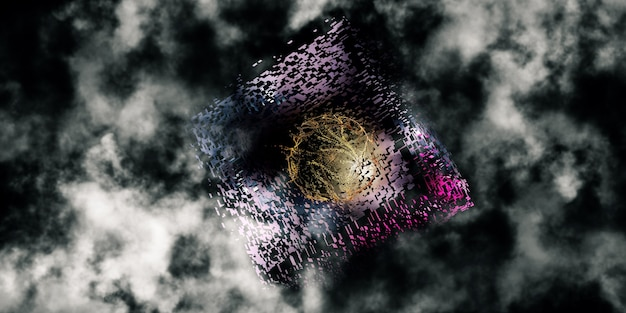 Фэнтези пиксельные блоки технологии абстрактный фон современная сцена концепция 3d иллюстрации