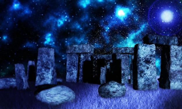 Stonehenge 3d 렌더에서 서 있는 돌을 통해 빛나는 태양광으로 목욕하는 켈트 드루이드의 판타지 렌더링