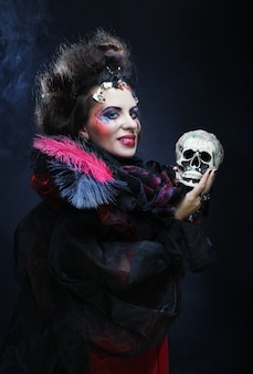 Fantasy woman with skull