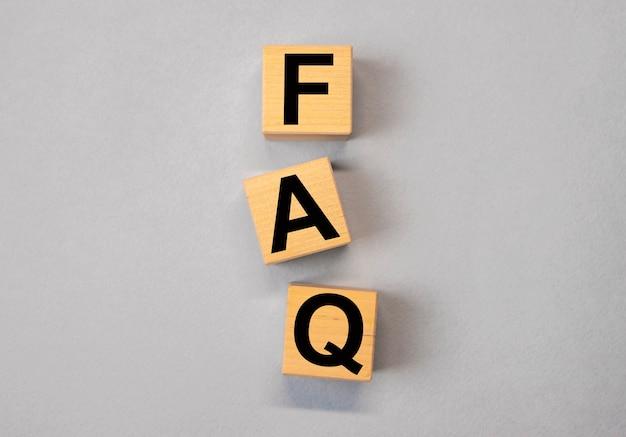 木製の立方体に関するfaqの頭字語