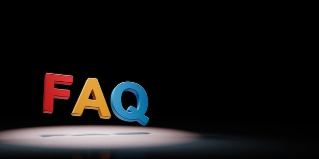 Faq colorful text in the spotlight isolated