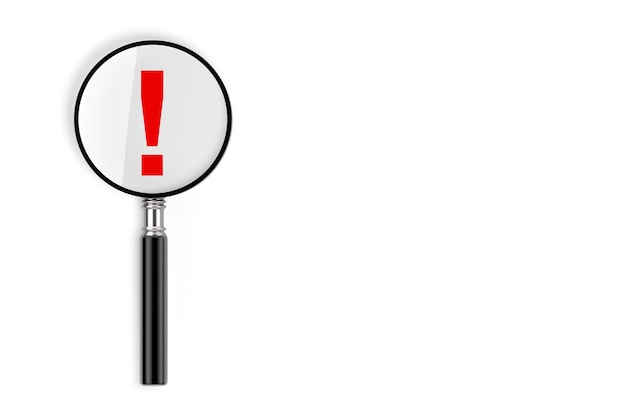 Faq concept. magnifying glass with exclamation mark on a white background. 3d rendering